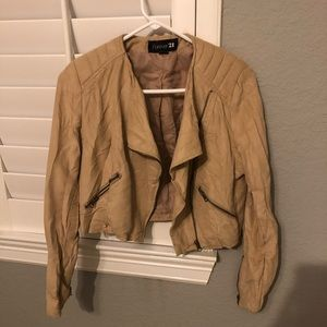 Forever 21 Tan Cropped Jacket